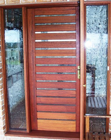 Merbau Entry door with sidelights & Doors - Customline - The Timber Experts